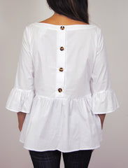 Peplum Top in White Broadcloth