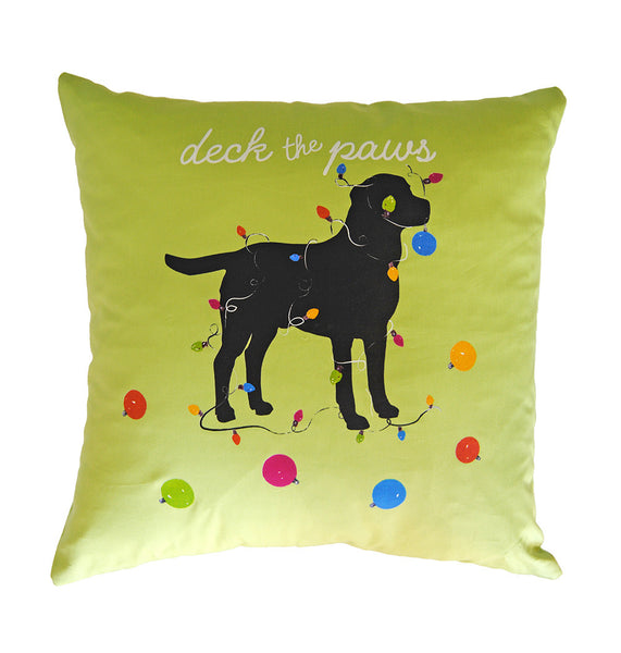 Pillow - Deck the Paws in Lime