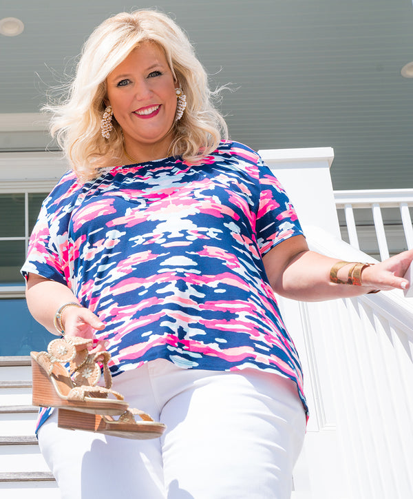 Betty Top Plus-Size in Preppy Camo