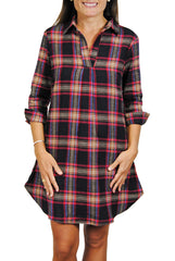 Popover Dress in Black Flannel