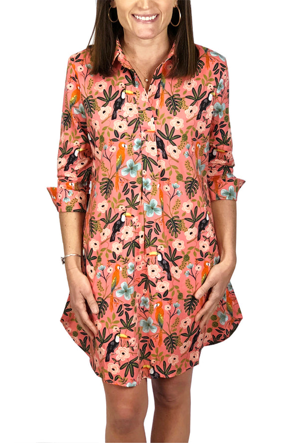 Popover Dress in Rayon Coral Parrot