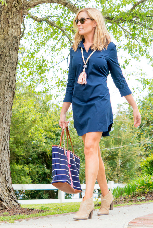 Popover Dress in Navy Broadcloth