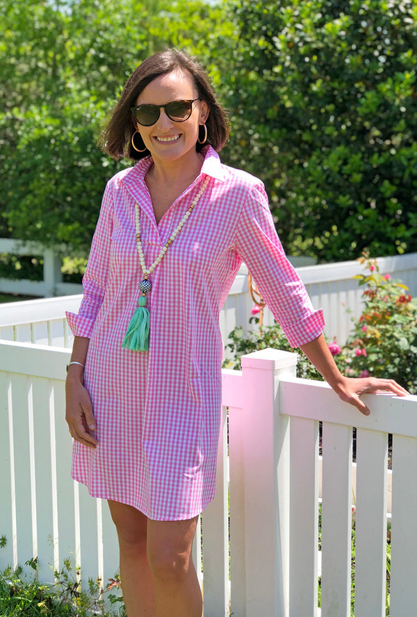 Popover Dress in Pink Gingham