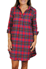 Popover Dress in Red Flannel