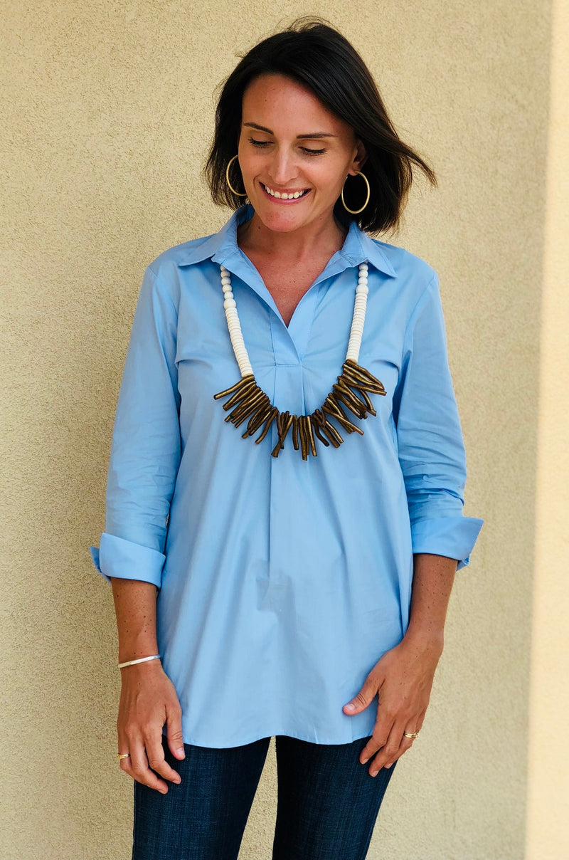 Popover Tunic in Blue Broadcloth