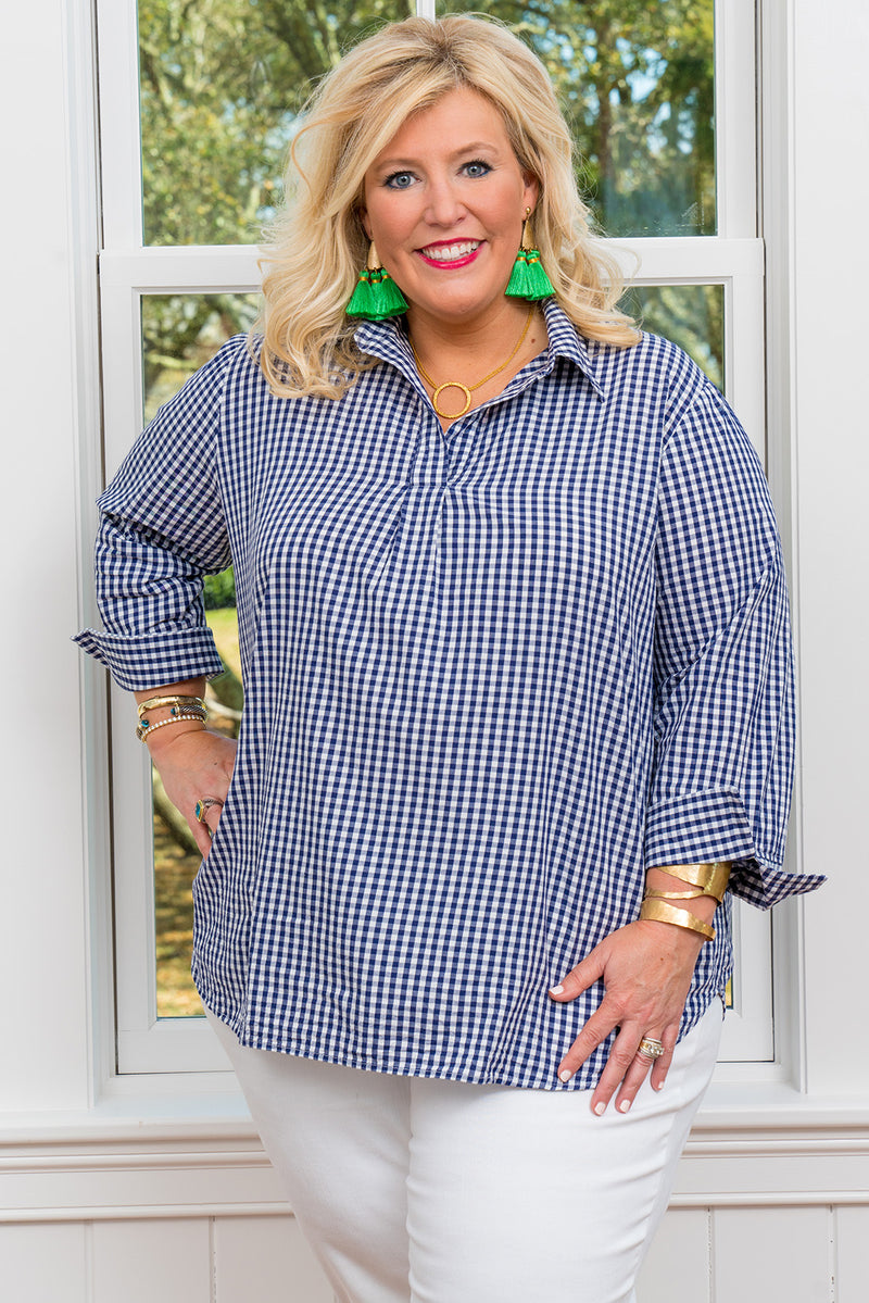 Popover Tunic-Plus Size in Navy Gingham