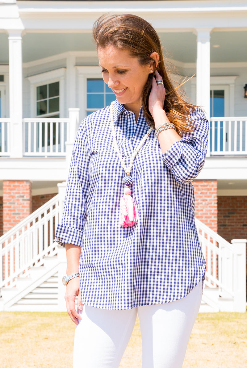 Popover Tunic in Navy Gingham