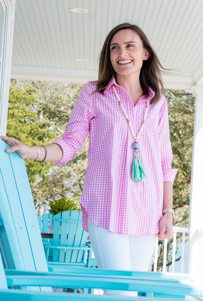 e205d8a2e07 Popover Tunic in Pink Gingham – Haley And The Hound
