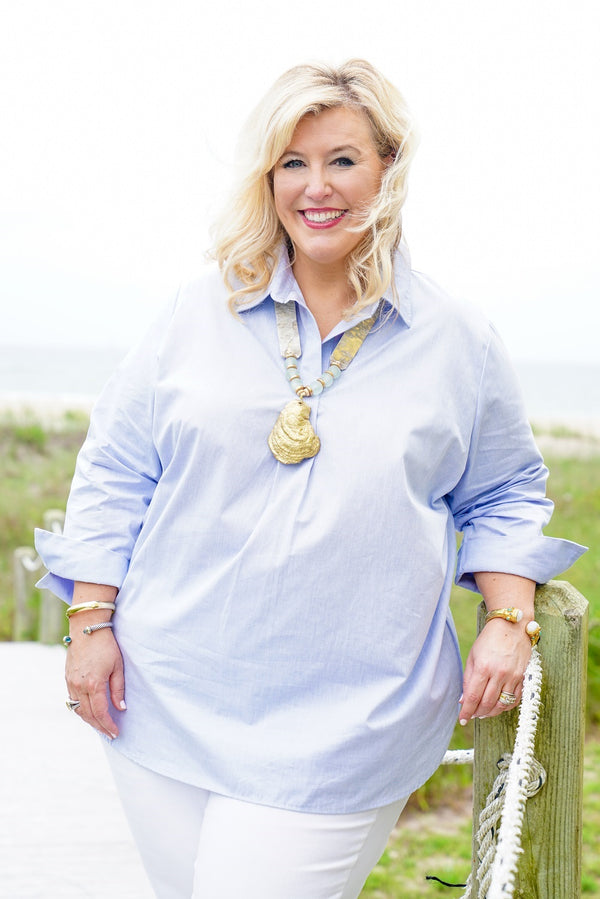 Popover Tunic-Plus Size in Chambray