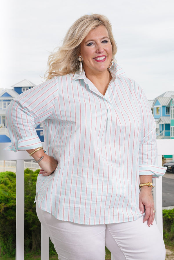 Popover Tunic-Plus Size in Seafoam Stripe