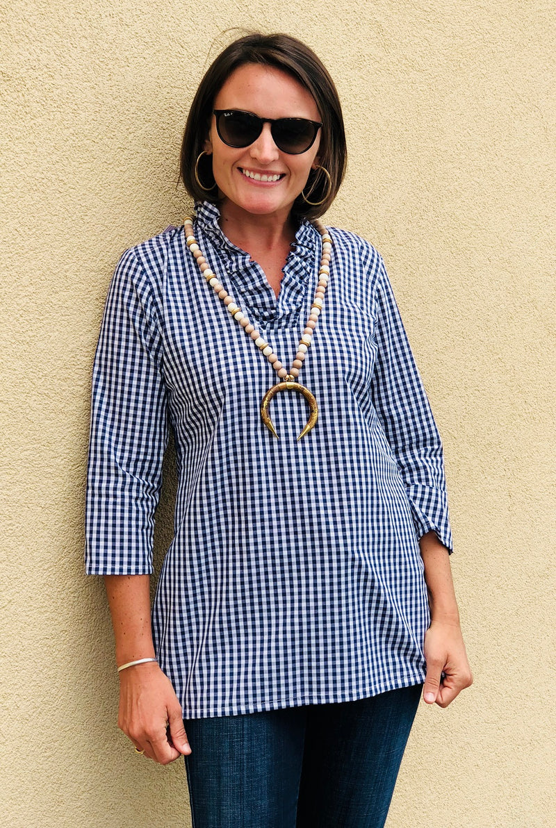 Parker Tunic in Quarter Inch Navy Gingham