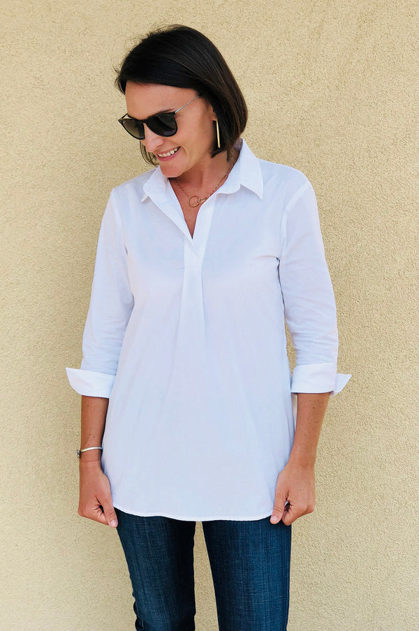 Popover Tunic in White Broadcloth