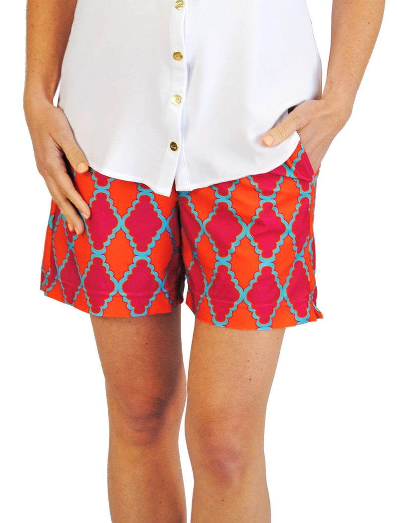 Pull-On 5 Inch Shorts in Pink Medallion