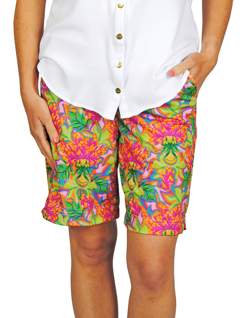 Pull-On Bermuda Shorts in Orange Floral