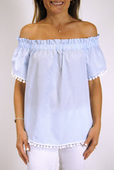 Ruffled Betty Top in Light Blue Stripes with White Single Poms