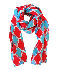Scarf in Aqua and Coral Medallion