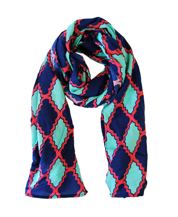 Scarf in Mint and Navy Medallion
