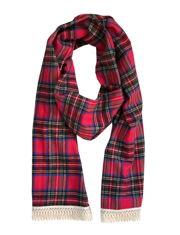 Fringe Scarf in Red Flannel