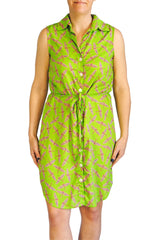 Sleeveless Shirtdress in Lime Dragonflies
