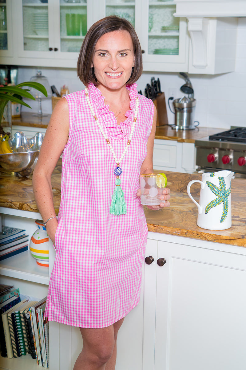 Sleeveless Parker Dress in Pink Gingham