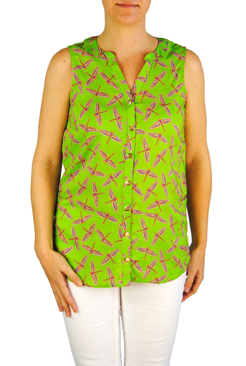 Sleeveless Stella in Lime Dragonflies