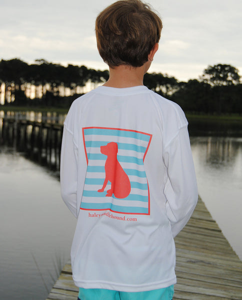 Youth SPF T-Shirt in Coral Striped Lab