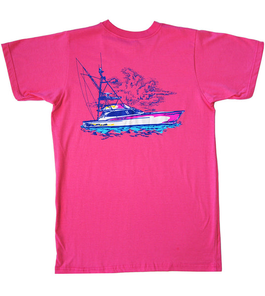 Sportfishing Boat in Hot Pink