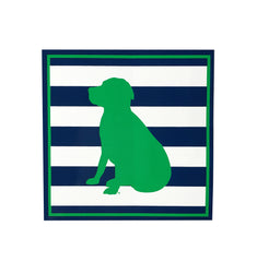 Striped Lab Sticker in Navy/Green