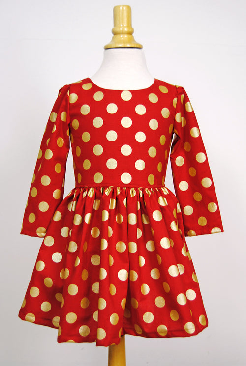 Girls' Sydney Dress in Red Metallic Dot