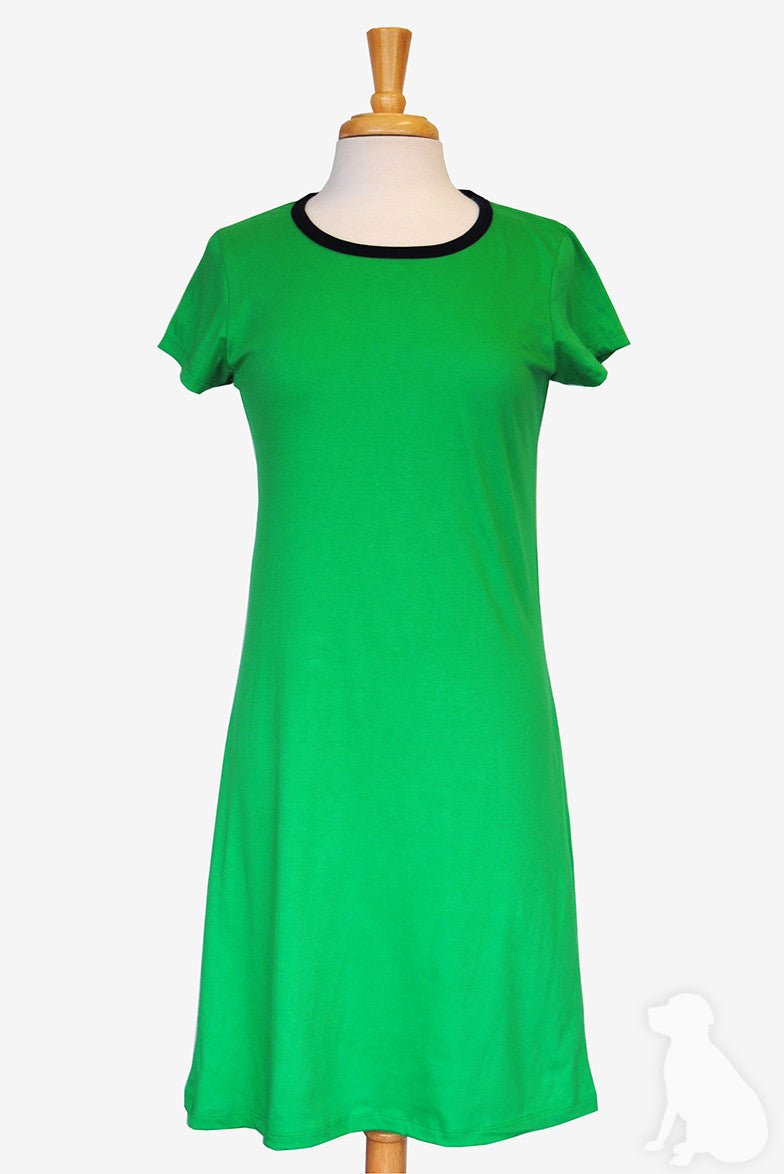 Amelia Dress - Solid Grass Green with Navy Trim