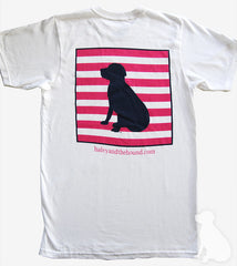 T-Shirt in White with Striped Navy Lab