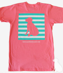 T-Shirt in Coral with Striped Lab
