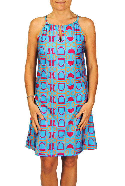 Tie Neck Dress in Aqua Equestrian