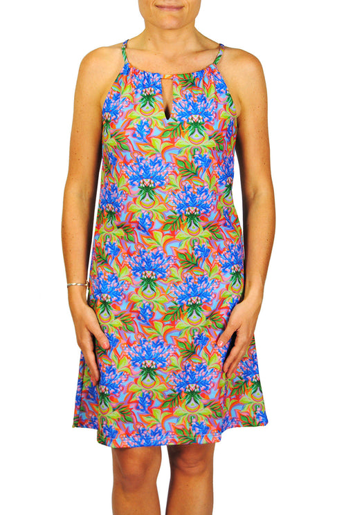 Tie Neck Dress in Blue Floral