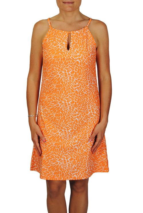 Tie Neck Dress in EBI Orange Floral