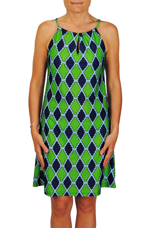 Tie Neck Dress in Navy Medallions