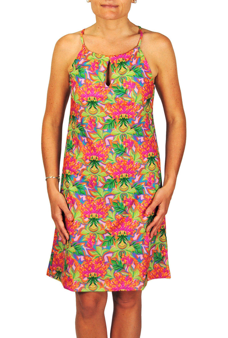Tie Neck Dress in Orange Floral