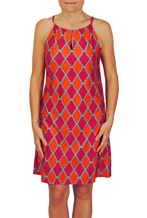 Tie Neck Dress in Pink Medallions