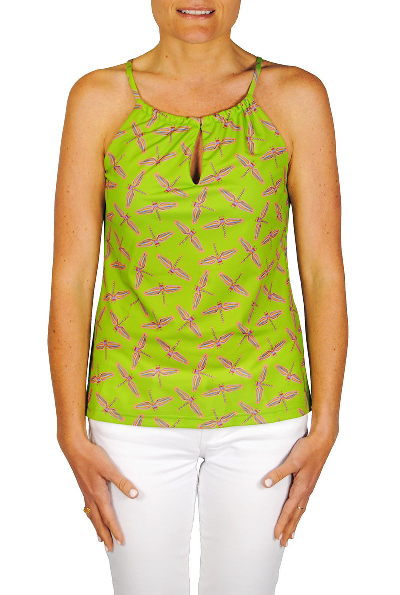 Tie Neck Tank Top in Lime Dragonflies