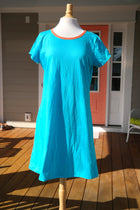 Amelia Dress - Solid Turquoise with Orange Trim