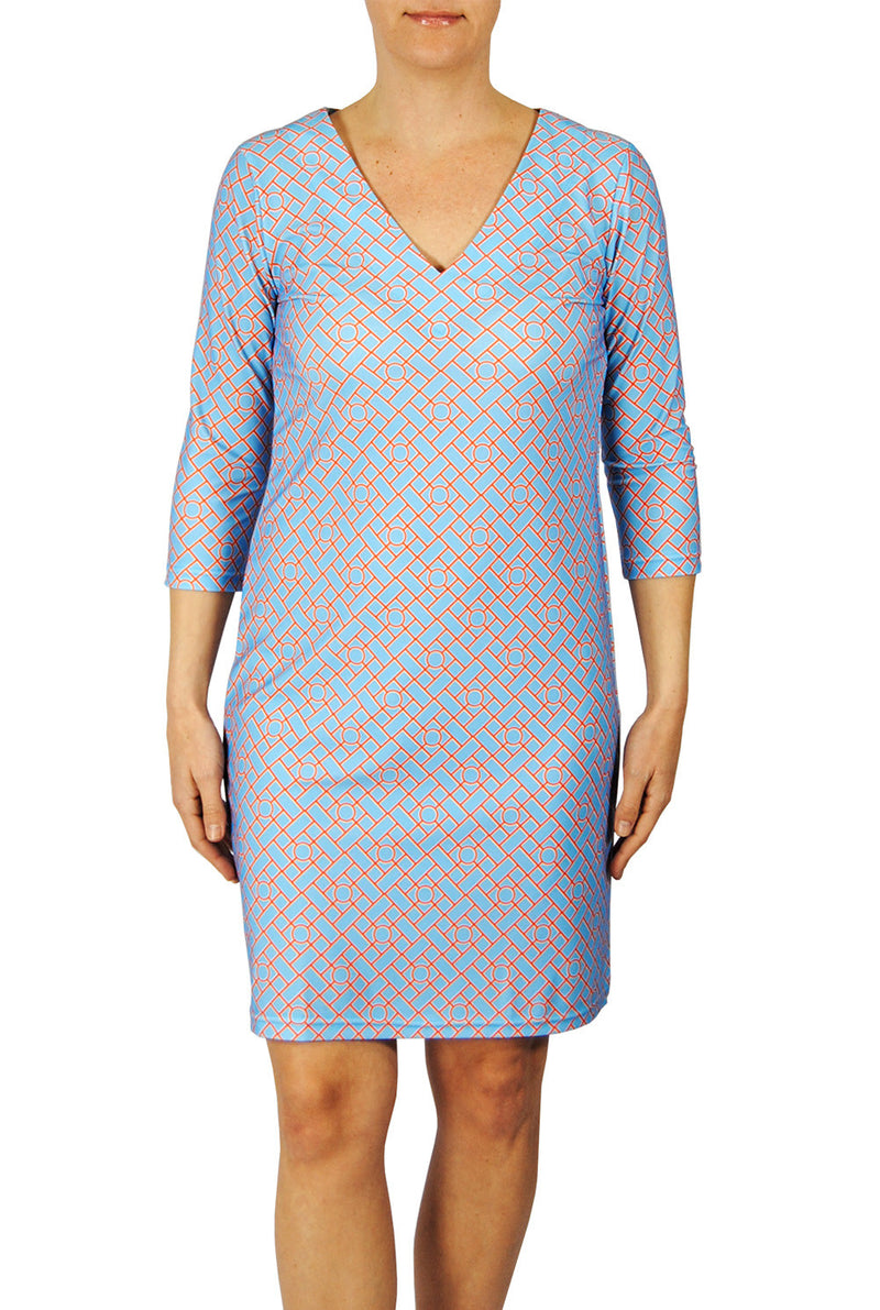 V-Neck Dress in Aqua Chippendale
