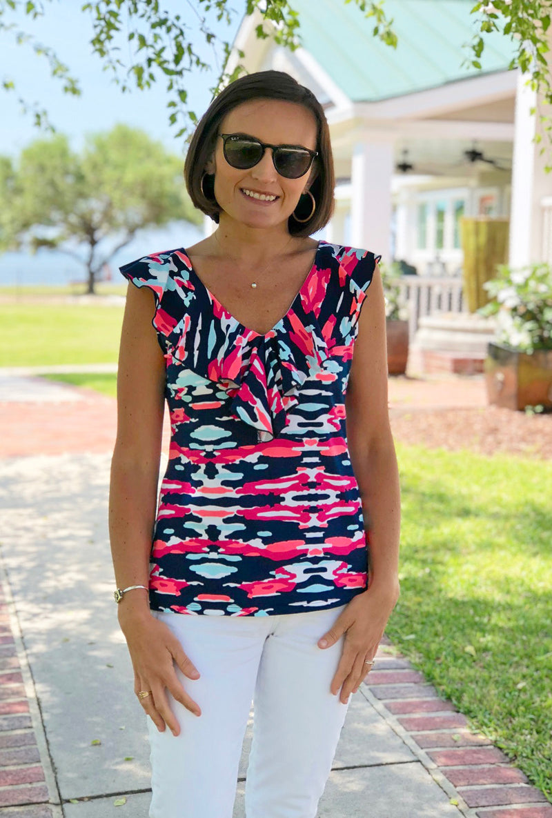 V Neck Ruffle Top in Preppy Camo