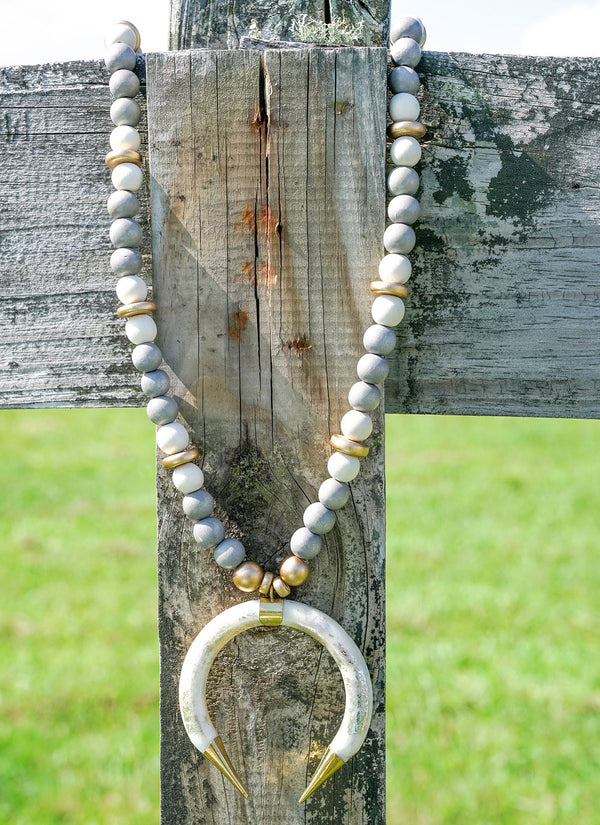 Magnolia Necklace - White Crescent with Gray Beads