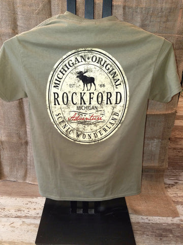 Rockford Oval Label Unisex T-Shirt (Click to view available colors)