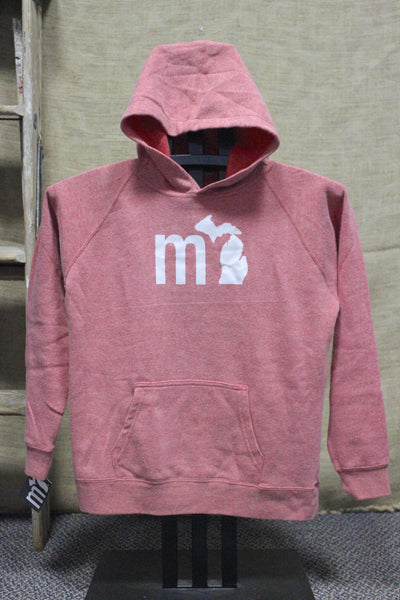 "Youth ""MI"" State of Mind Soft Hooded Sweatshirt (Available in pomegranate & midnight)"