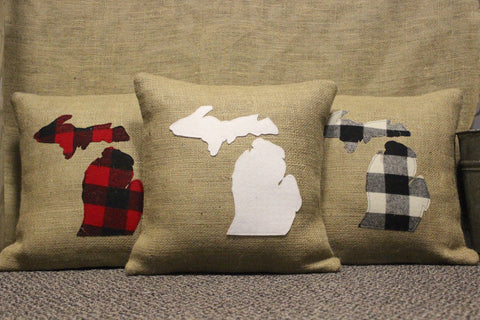 Burlap Michigan Pillows (Click to view available styles)