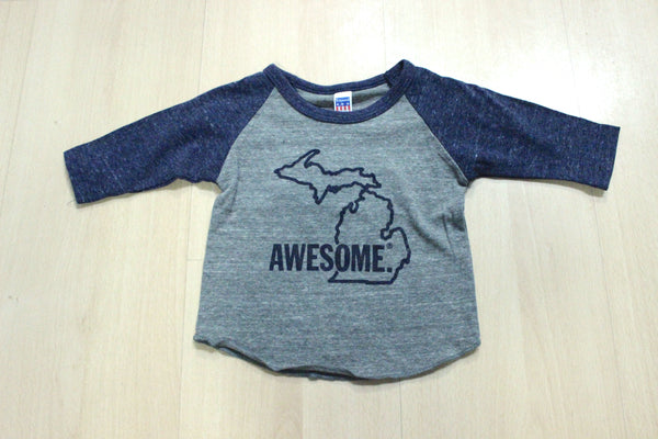 3/4 Sleeve Michigan Awesome Baby Tri-Blend Tee (Available in Navy & Red)