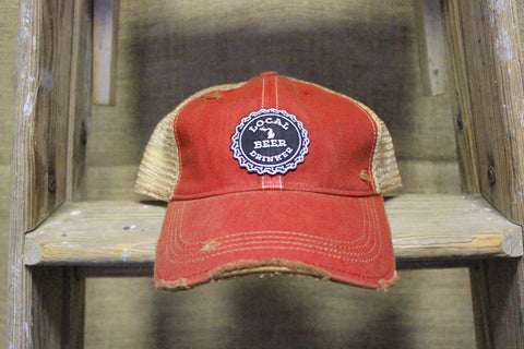 Local Beer Drinker Distressed Adjustable Trucker Hat (Available in red & black)