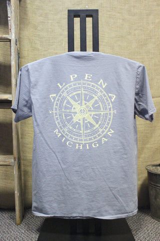 Alpena Compass Over-dyed, Ring-spun, Unisex Pocket T-Shirt (Available in Steel Grey & Indigo)