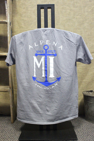 Alpena Anchor Ring-spun Unisex T-Shirt (Available in Steel Grey & Neon Coral)